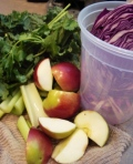 Apple, kale, red cabbage, cilantro. Trust me, the cilantro's awesome!